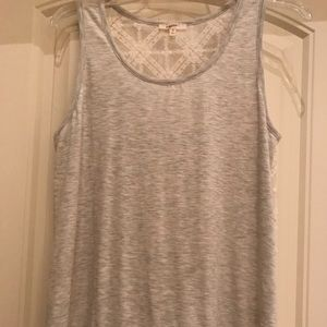 Heathered oatmeal tank with sheer lace back